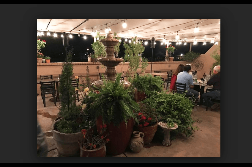 Pleasant atmosphere, perfect southwestern evening dining at St Clair Winery & Bistro in Las Cruces NM - just 2.5 hours from New Mexico Cabin Rentals in Gila NM