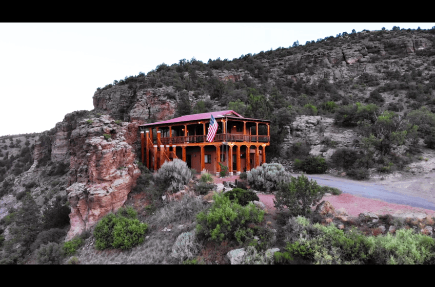 Soft sunset colors at Bear Creek Canyon Retreat in Gila New Mexico at New Mexico Cabin Rentals.