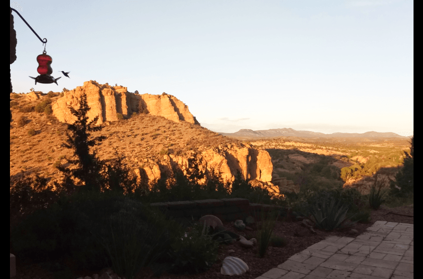 Dusk evening humming birds at Bear Creek Canyon Retreat - New Mexico Cabin Rentals