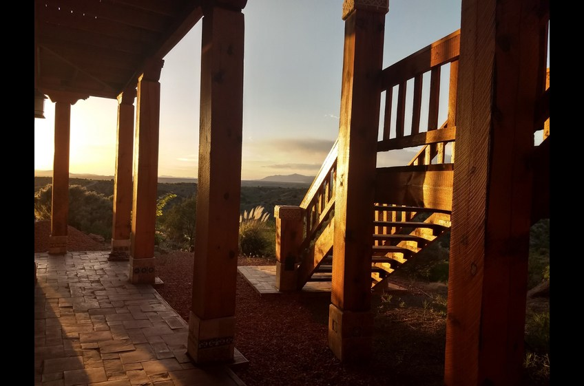 Stunning Sunset from the north facing side of Bear Creek Canyon Retreat at New Mexico Cabin Rentals in Gila New Mexico