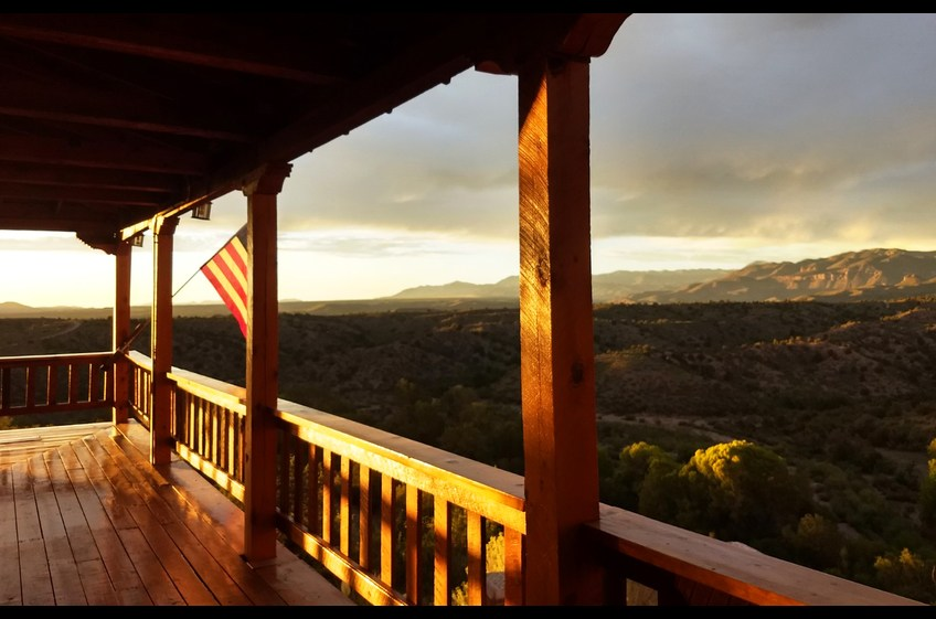 Late afternoon sun provides another stunning view of the Mogollon Mountain Range at Bear Creek Canyon Retreat.