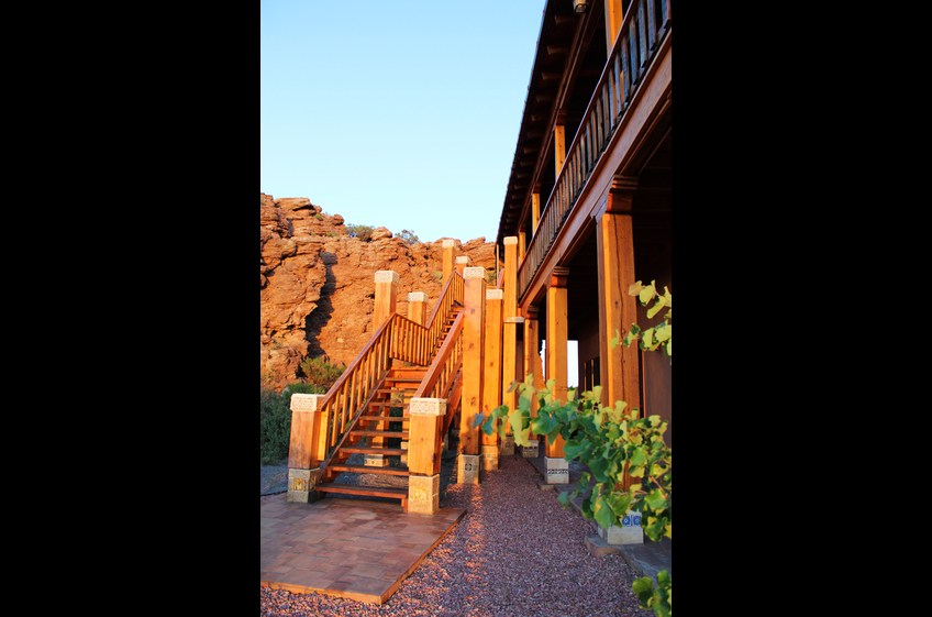 Stairway to the upper deck at Bear Creek Canyon Retreat, New Mexico Cabin Rentals