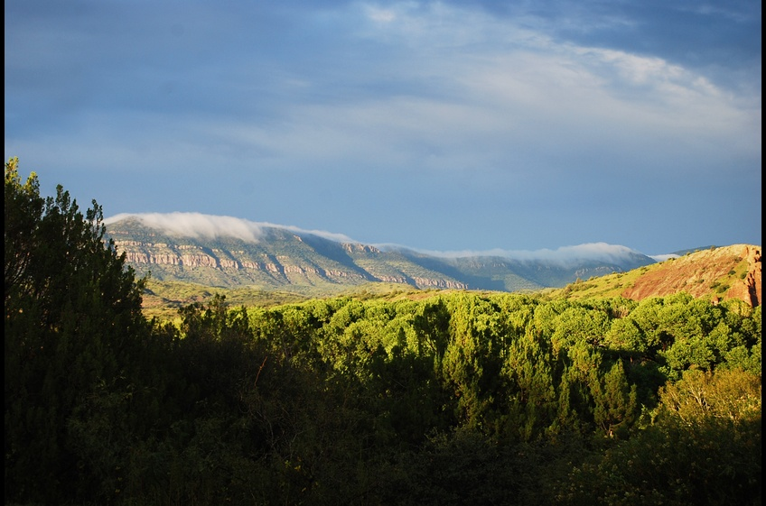 Misty Fog Creeps over the Gila National Forest Mountains at New Mexico Cabin Rentals